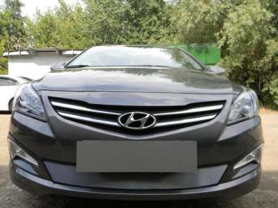 Защита радиатора Hyundai Solaris 2014-2016 chrome