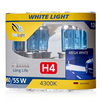 Лампа H4 (Clearlight) 12V-60/55W WhiteLight (2 шт.) 4300K