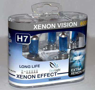 Лампа H7 (Clearlight) 12V-55W XenonVision (2 шт.) 6000K
