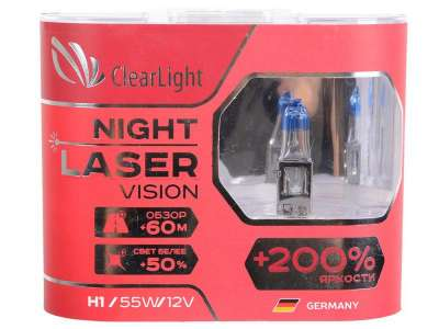 Лампа H1 (Clearlight)12V-55W Night Laser Vision +200% Light (2 шт.) 4500K